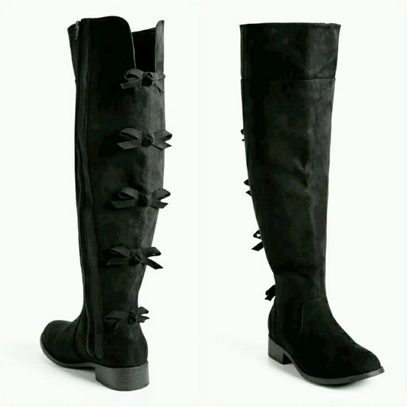 59a6627204db torrid Shoes | Bow Back Over Knee Boots Wide Width Calf | Poshmark